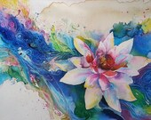 11 x 14 Watercolor Art Print - Lotus Flower Peace Lilly on a Wave