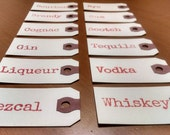 Woodcut Letterpress Spirit Decanter Tags