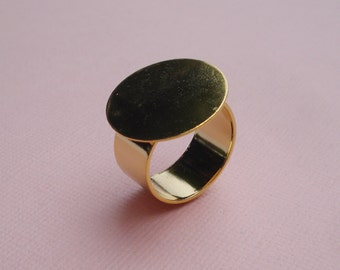 Gold Adjustable Ring 10mm Plain Band with 20mm Round Base Setting for a Flat Back Cab or Jewel (1 piece)