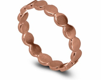 Circles Rose Gold Wedding Ring, 14k Rose Gold Bead Rings, Ball Wedding Band, Classic Rose Gold Wedding Ring, Delicate Wedding  Ring