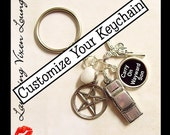 Supernatural Keychain - Customize Your Own Supernatural Key Chain - Custom Supernatural Keyring - Choose From Over 150 Charms