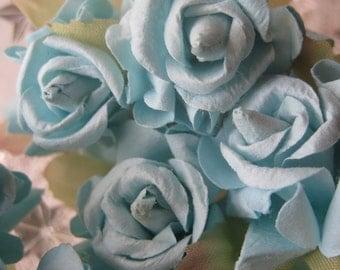 Paper Millinery Flowers 12 Handmade Dainty Roses In Light Blue
