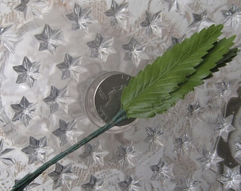 Vintage Millinery Fern Leaves 6 Small Green Fabric Leaves Japan 1950s Style A