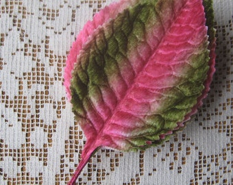 6 Vintage Millinery Leaves 1950s Japan Pink Ombre Velvet Rose Leaves  VL 062 GPM