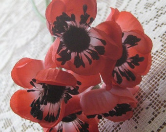 Vintage East Germany 5 Fabric Millinery Red Anemones Flowers  VF 073 R