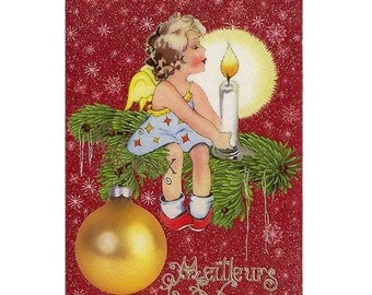 Christmas Card In French Made In Germany Glittered With DIY German Dresden Trim