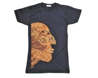 Womens Tshirt, Graphic Tee, Modern Tribal Mask T Shirt for Women, Metallic Copper Rust Bronze Maroon