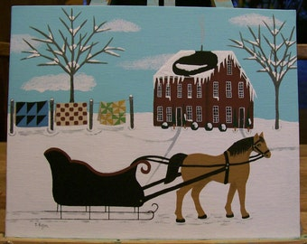 Original Winter Landscape Folk Art Painting on Canvas in Acrylics Saltbox House Horse Sleigh Pony Quilts Snow Trees