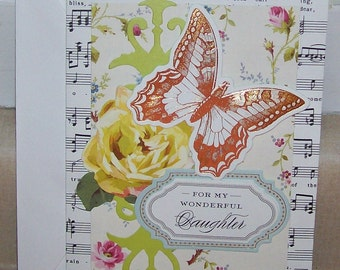 Handmade CARD For DAUGHTER's Special Day Anna Griffin Design and Supplies  Vintage Look  Butterfly Rose Embellished Dimentional Floral