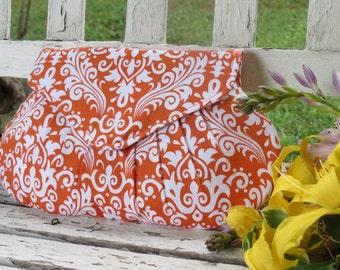 Orange Clutch, Bridesmaid Gift, Bridal Accessory, Small Purse, Damask Clutch, Bridal Party Present