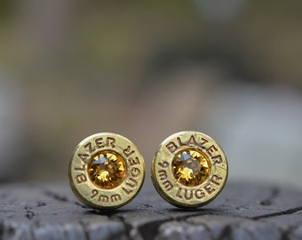 Bullet Earrings stud or post, Blazer 9mm Luger with Swarovski crystals