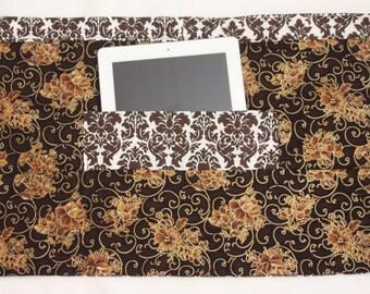 Teacher Vendor Apron Half iPad Craft Art Brown Damask Floral Fabric (4 Pockets)