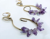 Amethyst Earrings, Amethyst crystals on handcrafted dangles