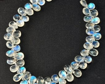 Rainbow Moonstone Faceted Pear Briolette Bead 8 inch strand