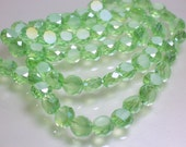 35pcs 8mm Chinese Crystal Glass Beads Mint Green Round Flat Coin shape Faceted Jewelry Jewellery Craft Supplies