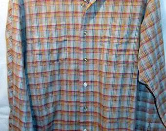 Vintage 50s GRAY Plaid Shapely LOOP COLLAR Shirt, Large, Rockabilly, Cruiser Cool