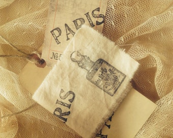 Violette French Perfume - PARIS Hand stamped ribbon trim - Homestead Treasures Ribbon Trim - Distressed Manila Hand Stamped  Shipping Tag