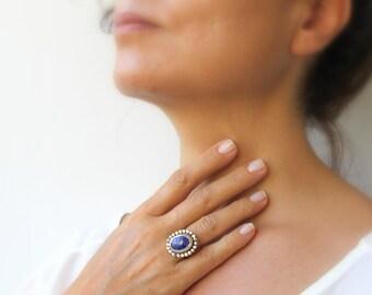 Lapis Lazuli Ring Galaxy Ring Stardust Cobalt Blue Dark Blue Sapphire Blue Handmade Sterling Silver Statement  Hammered Band