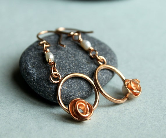 Rose Gold Circle With Rose Pearl Flower Dangle  Bridal Wedding Jewelry
