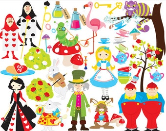 Alice in Wonderland clipart - Alice clip art, mad hatter queen of hearts tweedle dee dum cheshire cat caterpillar roses tea teacups teapot