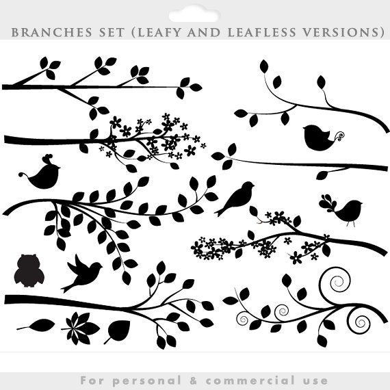 Branch silhouette clipart - tree clip art silouette whimsical, cute ...
