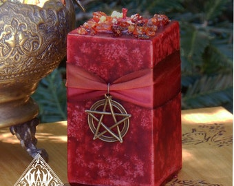 Haunted Harvest Candle . Lammas, Mabon, Samhain with Myrrh, Saffron, Ginger, Sandalwood, Orange, Resins, Bronze Pentacle Pendant Charm