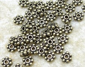 50 Flat Daisy Spacers 4mm Antique Brass Oxide Beads Bali Heishi TierraCast Bronze 4mm Beaded Spacers (PAS2)