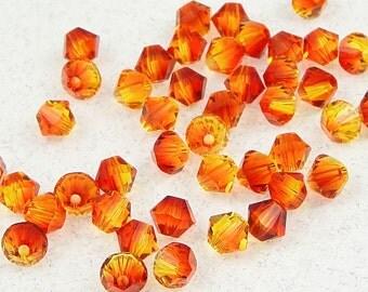 48 FIREOPAL 4mm Bicone Beads - Fire Opal Orange Multitone Swarovski Beads - Article 5301 5328 4mm Crystal Beads