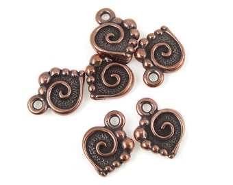 6 SPIRAL HEART Charms - Antique Copper Charms - TierraCast Copper Heart Drops for Valentine's Day Jewelry (P534)