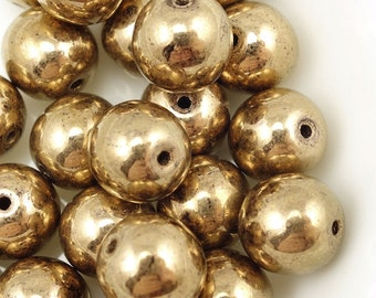 25 METALLIC BRONZE 8mm Round Beads - Light Golden Brown Champagne  - Czech Druks