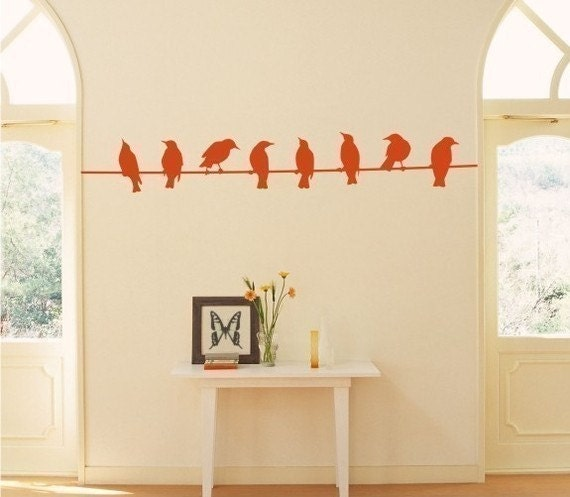 Birds on Wire Wall Decal - Vinyl Wall Stickers Art