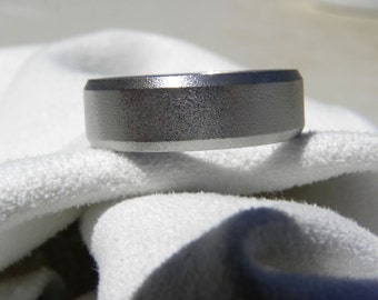 Titanium Ring or Wedding Band, Narrow Beveled Edges, Burnished Finish