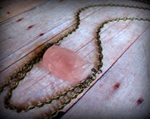 ROSES are PINK - Rose Quartz faceted stone with natural brass chain drapery Goddess Jewelry  Rose Quartz Healing Stone Necklace