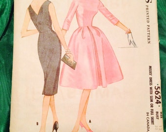 1960 Vintage Sewing Pattern McCalls 5624 Dress with Full or Slim Skirt