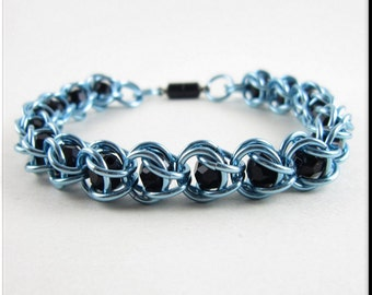 Captured Bead Chain Maille Bracelet or Anklet Light Blue with Black Beads Chainmaille