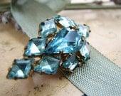 Vintage Czech aqua blue rhinestone brooch pin