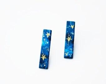 Long Bar Stud Earrings, star earrings, blue minimalist earrings, blue and gold earrings, modern jewelry, galaxy earrings, gift for her