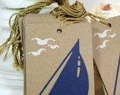 Sailboat Tags Seagull Hang Tags Hand Stamped Gift Tags Nautical Themed Handmade Tags