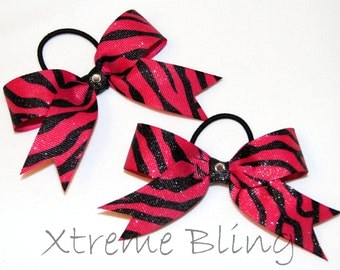 Hot Pink Zebra Hair Bow (Set of 2)