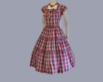 50s dress / Eye Candy Vintage 1950's Full Skirt Lucy Day Dress