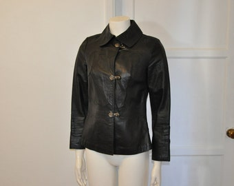 70s jacket / Rock Star Vintage 1970's Leather Cordoba Toggle Jacket