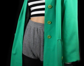 Vtg 60s Mod Neon Green Day Glo Jackie O Mint Sorbet Mad Men 50s Minimalist Club Kid Rave Trench Spy Dress Raincoat Rain Coat Kitsch Jacket