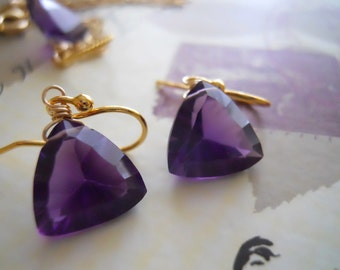 Trillionaire Earrings in Amethyst Colored Purple Quartz, gold or silver