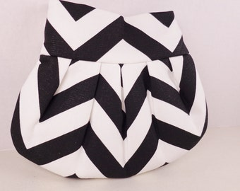 Pleated Clutch Black White Chevron 8 Colors Available