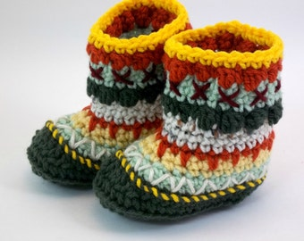 6 - 12 months Baby Booties Alaskan Mukluk or Granny Boots Multicoloured  OOAK