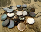 """20 Vintage Mother of pearl MOP buttons 7/8"""" metal shank new old stock"""