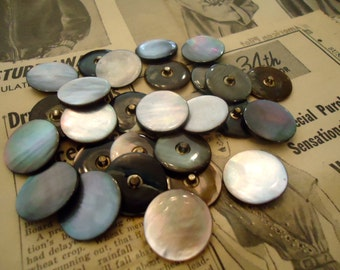 "20 Vintage Mother of pearl MOP buttons 7/8"" metal shank new old stock"