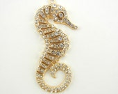 Gold-tone Marcasite-like Seahorse Pendant with Rhinestone Accents