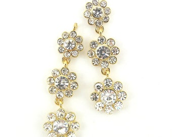 Pair of Gold-tone Flower Drop Rhinestones