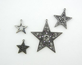 Set of 4 Antique Silver-tone Star Charms